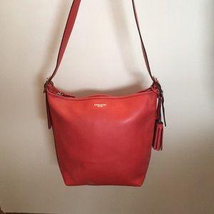 Coach carnelian orange leather hobo bag